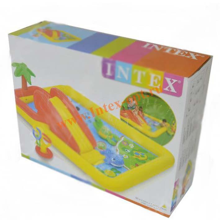 Intex игровой центр надувной океан с горкой и распылителем 254x196x79см рем комплект от 3 лет 57454