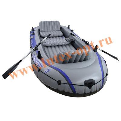 INTEX 68325 Пятиместная надувная лодка Excursion-5 Set 366х168х43см(алюминиевые вёсла и ручной насос)