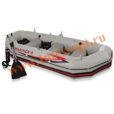 INTEX 68376 Четырёхместная надувная лодка Mariner-4 Set 328х145х48см(жёсткий пол + алюминиевые вёсла и ручной насос)