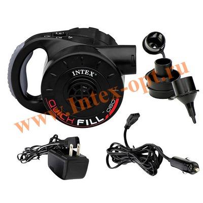INTEX 66622 Электрический аккумуляторный воздушный насос Quick-Fill RECHARGEGEABLE Pump, 220В/12В