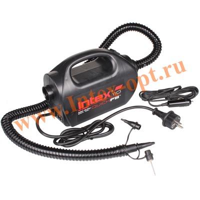 INTEX 68609 Электрический воздушный насос с компрессором Quick-Fill High PSI Indoor/outdor Electric Pump, 220В/12В