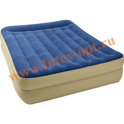 INTEX 67714 Двуспальная надувная кровать Pillow Rest 152х203х42 см (со встроенным насосом 220В)