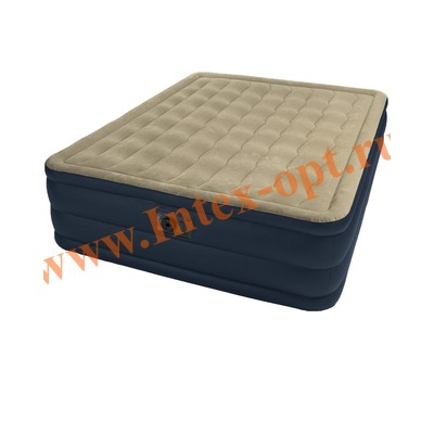 INTEX 67710 Двуспальная надувная кровать Plush 152х203х46см (со встроенным насосом 220В)