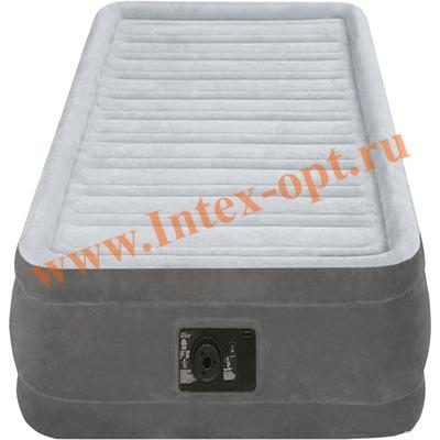 INTEX 67766 Односпальная надувная кровать Comfort-Plush 99х191х33см (со встроенным насосом 220В)