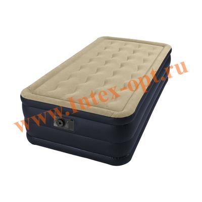 INTEX 67906 Односпальная надувная кровать Plush 99х191х46см (со встроенным насосом 220В)