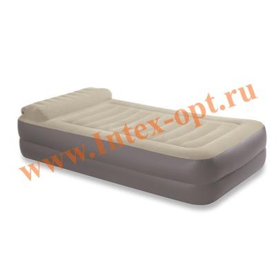 INTEX 67776 Односпальная надувная кровать Take Along Bed Twin 99х191х36см с подголовником (с насосом 220В)