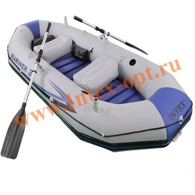INTEX 68373 Трёхместная надувная лодка Mariner-3 Set 297х127х46см (жёсткий пол+алюминиевые вёсла и ручной насос)