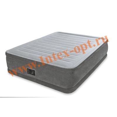INTEX 67768 Двуспальная надувная кровать Comfort-Plush 137х191х33см (со встроенным насосом 220В)