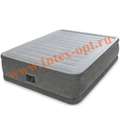 INTEX 67770 Двуспальная надувная кровать Comfort-Plush 152х203х33см (со встроенным насосом 220V)