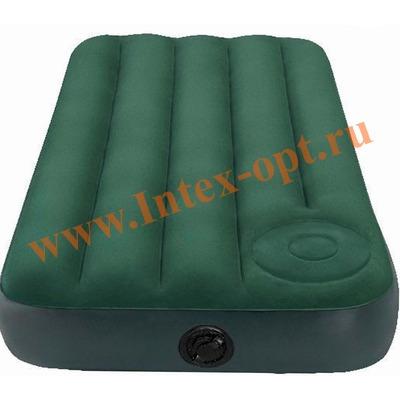 INTEX 66929 Двуспальный надувной матрас Downy Bed 152х203х22см (встроенный ножной насос)