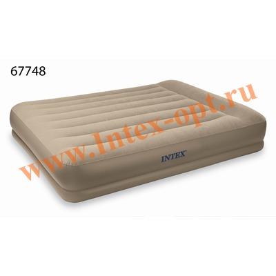 INTEX 67748 Двуспальная надувная кровать с подголовником 152х203х35 см (со встроенным насосом 220В)