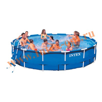 INTEX 28236(OEM) Бассейн каркасный круглый 457х122 см( лестница, настил, тент + DVD инструкция)