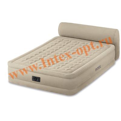 INTEX 64460 Двуспальная надувная кровать со спинкой Headboard Bed 152х229х79см ( со встроенным насосом 220В)