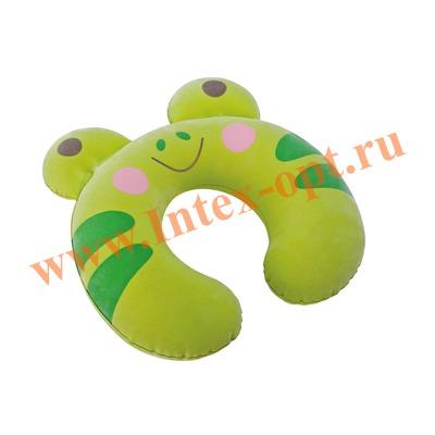 INTEX 68678 Подушка-подголовник для детей Kidz Travel Pillow 30 х 28 х 8 см (без насоса) зелёная лягушка