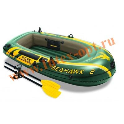 INTEX 68347 Двухместная надувная лодка Seahawk-2 Set 236х114х41см(ручной насос и пластиковые вёсла)
