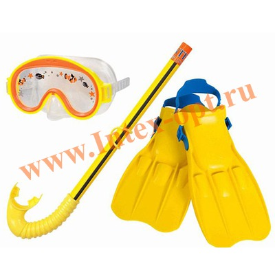 INTEX 55951 Набор для плавания Adventure View Swim Set: маска, трубка, ласты (размер 35-37)от 3 до 8 лет