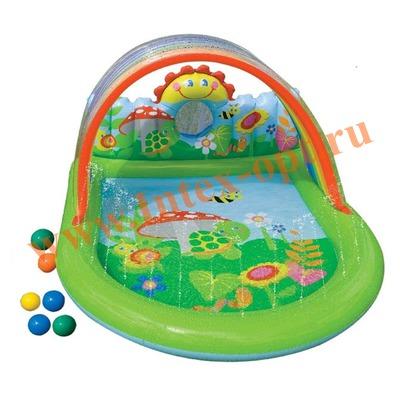 INTEX 57421 Надувной игровой центр-бассейн с фонтанчиками и тентом Радуга Countryside Play Center 155х130х84 см(от 2 лет)