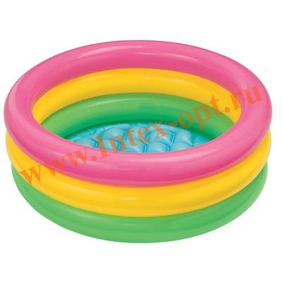 INTEX 57402(57107) Надувной детский бассейн с надувным полом Радуга Sunset Glow Baby Pool 61х22 см(от 1 до 3 лет)