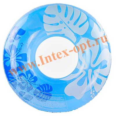 INTEX 59251 Надувной круг для плавания Clear Color Tubes Ø 91 см(от 9 лет)без насоса