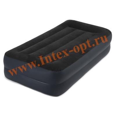 INTEX 64122 (66706)Односпальная надувная кровать PILLOW REST RAISED BED 99х191х42см (со встроенным насосом 220В)