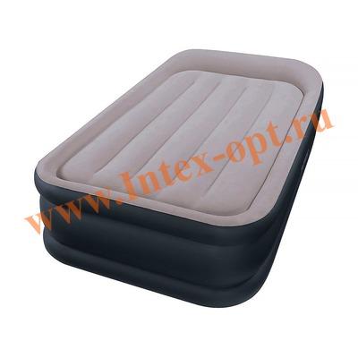 INTEX 64132 Односпальная надувная кровать Deluxe Pillow Rest Raised Bed 99х191х42см (со встроенным насосом 220В)