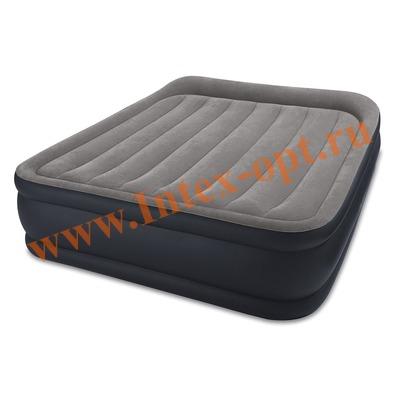 INTEX 64136 Двуспальная надувная кровать Deluxe Pillow Rest Raised Bed 152х203х42см (со встроенным насосом 220В)