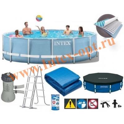 INTEX 28736 Бассейн каркасный круглый 457х122 см (фильтр-насос, лестница, тент, настил)