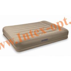 INTEX 67746 Двуспальная надувная кровать 152х203х35см с подголовником (без насоса)