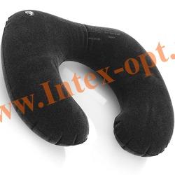 INTEX 68675 Надувная флокированная подушка-подголовник туристическая Travel Pillow 36х30х10 см