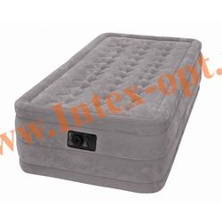 INTEX 67952 Односпальная надувная кровать Ultra Plush 99х191х46 см (со встроенным насосом 220В)