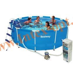 BestWay 12302 Каркасный бассейн 305х100 см (картриджный фильтр-насос 2м3 220 в, лестница + DVD инструкция)
