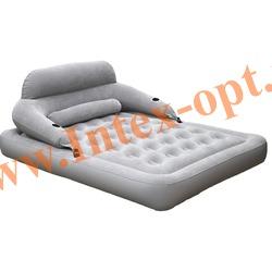 INTEX 68916 Двуспальный надувной матрас(матрац) Convertible Lounge Bed 152х203х71 см(внешний насос 220 В)