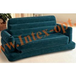 INTEX 68566 Двухместный надувной диван-трансформер Pull-Out Sofa 193х231х7 см(без насоса)изумрудный