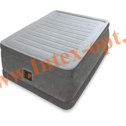 INTEX 64412 Односпальная надувная кровать Comfort-Plush 99х191х46см (со встроенным насосом 220В)