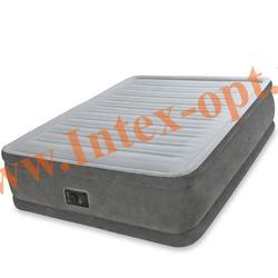 INTEX 64414 Двуспальная надувная кровать Comfort-Plush 152х203х46см (со встроенным насосом 220В)