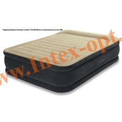INTEX 64408 Двуспальная надувная кровать Premium Comfort 152х203х46см (со встроенным насосом 220В)