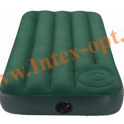 INTEX 66928 Полутороспальный надувной матрас(матрац) Downy Bed 137х191х22см (Cо встроенным ножным насосом)