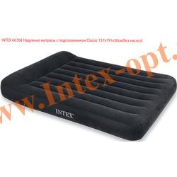 INTEX 66768 Полутороспальный надувной матрас с подголовником Classic 137х191х30см (без насоса)