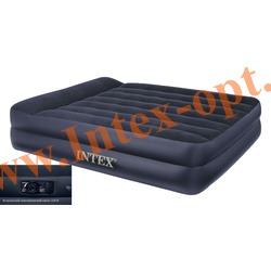 INTEX 66702 Двуспальная надувная кровать Rising Comfort 152х203х42см(со встроенным насосом 220В)