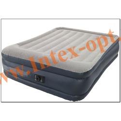 INTEX 67738 Двуспальная надувная кровать Rising Comfort 152х203х43см(со встроенным насосом 220 В)