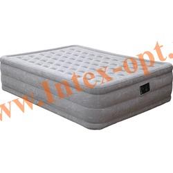 INTEX 66958 Двуспальная надувная кровать Ultra Plush 152х203х46 см(со встроенным насосом 220В)