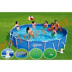 Summer Escapes Бассейн на опорах 396х132 см (фильтр-насос 3м3 220В, лестница, настил, тент, набор для чистки DELUXE, скиммер)