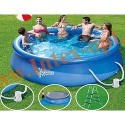 Summer Escapes Бассейн надувной 396х99см (фильтр-насос 2,27м3 220В, лестница, подстилка, тент)