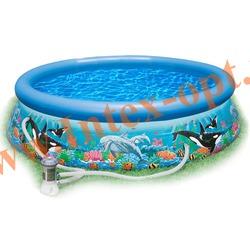 """INTEX 28136(54906) Бассейн надувной """"Ocean Reef"""" 366х76см с фильтр-насосом 2 м3/ч 220 В"""