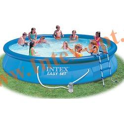 INTEX 28180 Бассейн надувной 457х84см (фильтр-насос 2 м3/ч 220В,лестница,тент,настил под бассейн)