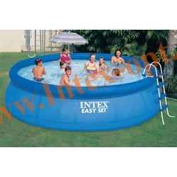 INTEX 28166(ОЕМ) Бассейн надувной 457х107 см (видео,лестница,настил,тент)