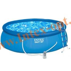 INTEX 56409 Бассейн надувной 457х107см (фильтр-насос 3.8 м3/ч 220В,лестница,настил,тент,набор для чистки,скиммер)