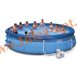 INTEX 56417 Бассейн надувной 549х107 см (фильтр-насос 5.7 м3/ч 220 В, лестница, настил, тент, набор для чистки, скиммер)