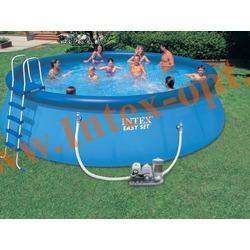 INTEX 57929 Бассейн надувной 549х122 см (видео, фильтр-насос 5.7 м3/ч 220 В+ хлор-генератор, лестница, настил, тент, набор для чистки, скиммер)