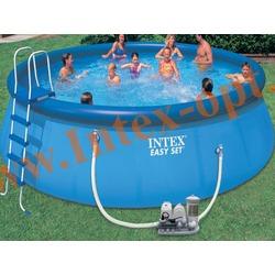 INTEX 57932 Бассейн надувной 549х132 см (фильтр-насос 7.6 м3/ч 220 В+ хлор-генератор, лестница, настил, тент, набор для чистки, скиммер)